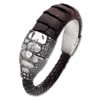 Sterling Silver Clasp with Brown Ostrich Leather Bracelet 321792
