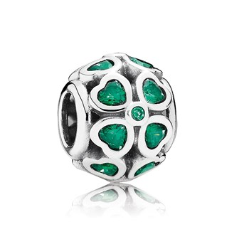 802-2858-PANDORA Green Lucky Clover with Green CZ Openwork Charm