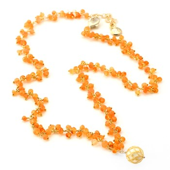 Golden Pearl & Carnelian Necklace-348936