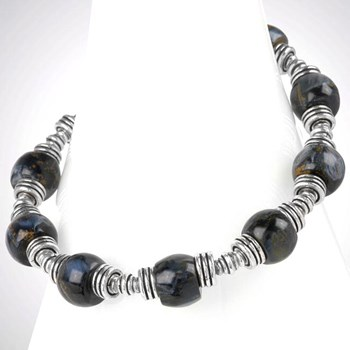251648-Sterling Silver and Pietersite Bracelet