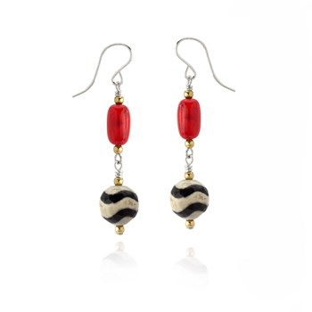 Coral and Agate  Earrings