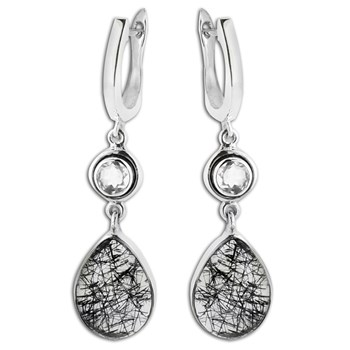 347403-Black Rutilated & Crystal Quartz Earrings