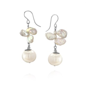 Keshi Pearl and Sterling Silver Earrings