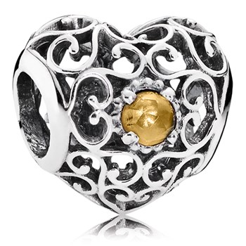 PANDORA November Signature Heart with Citrine Charm-802-3099