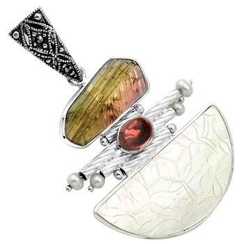 341785-Carved Tourmaline & Pearl Pendant