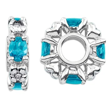336880-Storywheels Swiss Blue Topaz & Diamond Sterling Silver Wheel ONLY 1 AVAILABLE!