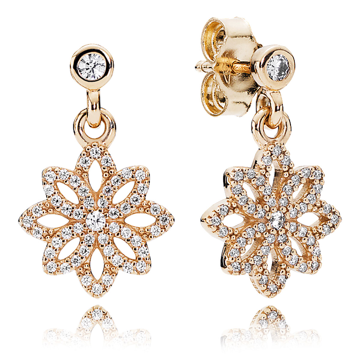 804-414-PANDORA Lace Botanique with 14K and Clear CZ Dangle Earrings