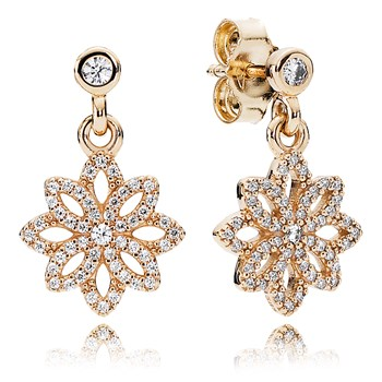 PANDORA Lace Botanique with 14K and Clear CZ Dangle Earrings-804-414