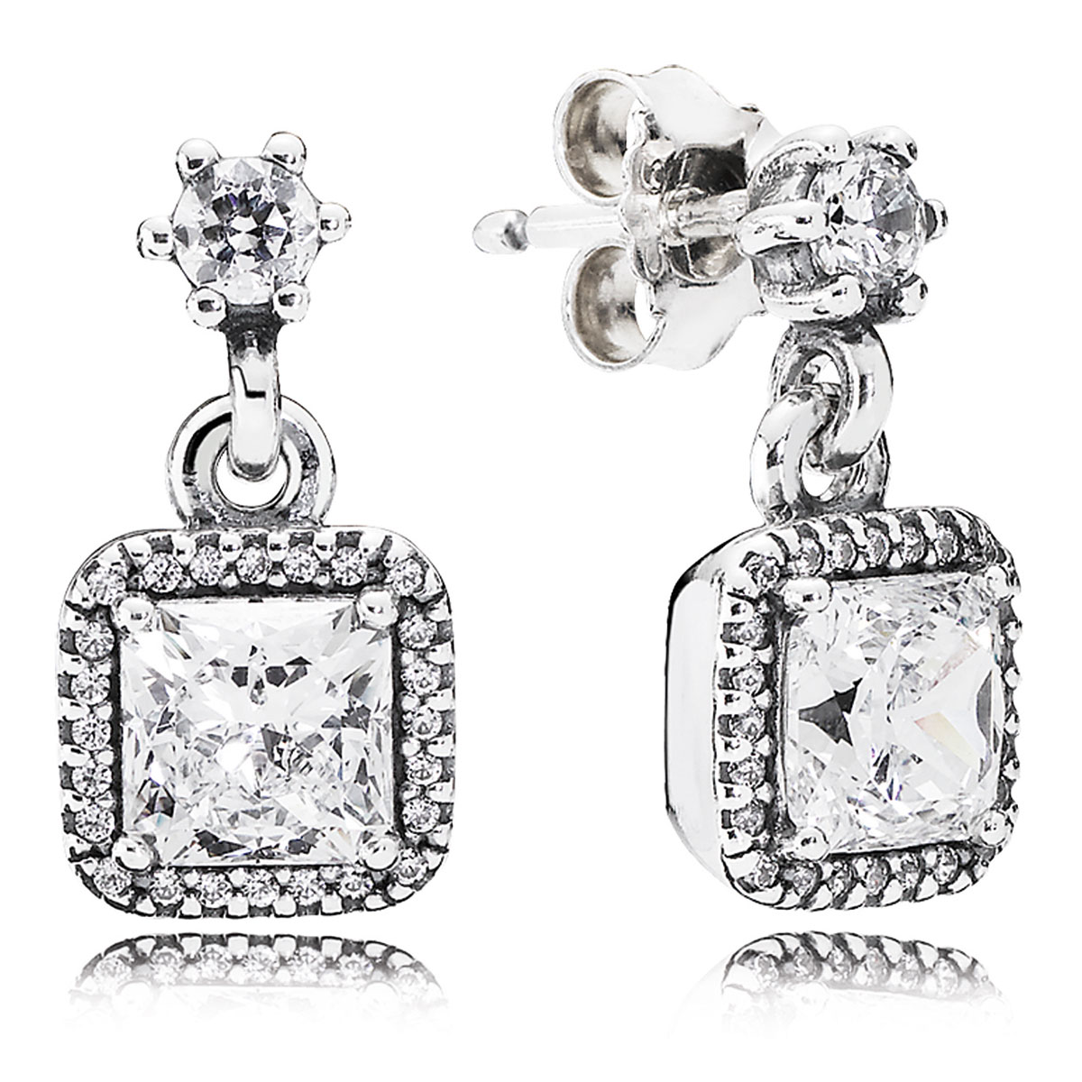 803-3033-PANDORA Timeless Elegance with Clear CZ Dangle Earrings