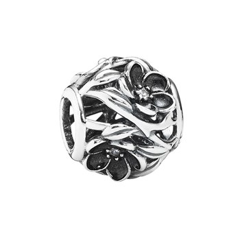 348026-PANDORA Mystic Floral with Clear CZ and Black Enamel Openwork Charm