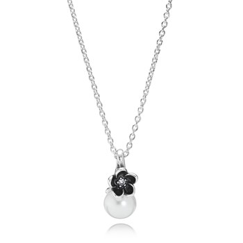 348120-PANDORA Mystic Floral with White Pearl, Clear CZ and Black Enamel Necklace