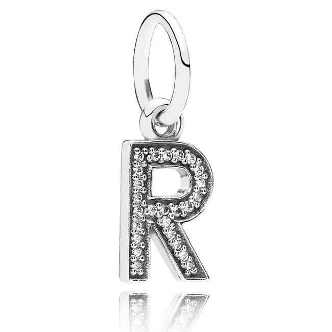 346453-PANDORA Letter R with Clear CZ Pendant
