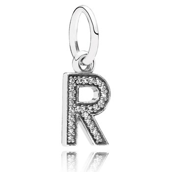 PANDORA Letter R with Clear CZ Pendant-346453