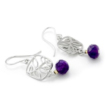 Amethyst Leaf Earrings-210-668