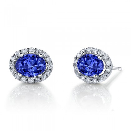 347465- Blue Sapphire and Diamond Earrings