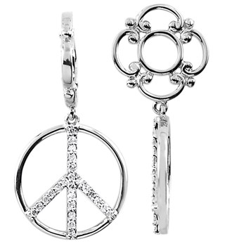 337406-Storywheels Diamond Peace Sign Dangle Sterling Silver Wheel ONLY 2 AVAILABLE!