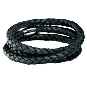 STORY by Kranz & Ziegler Triple Wrap Black Braided Leather Bracelet