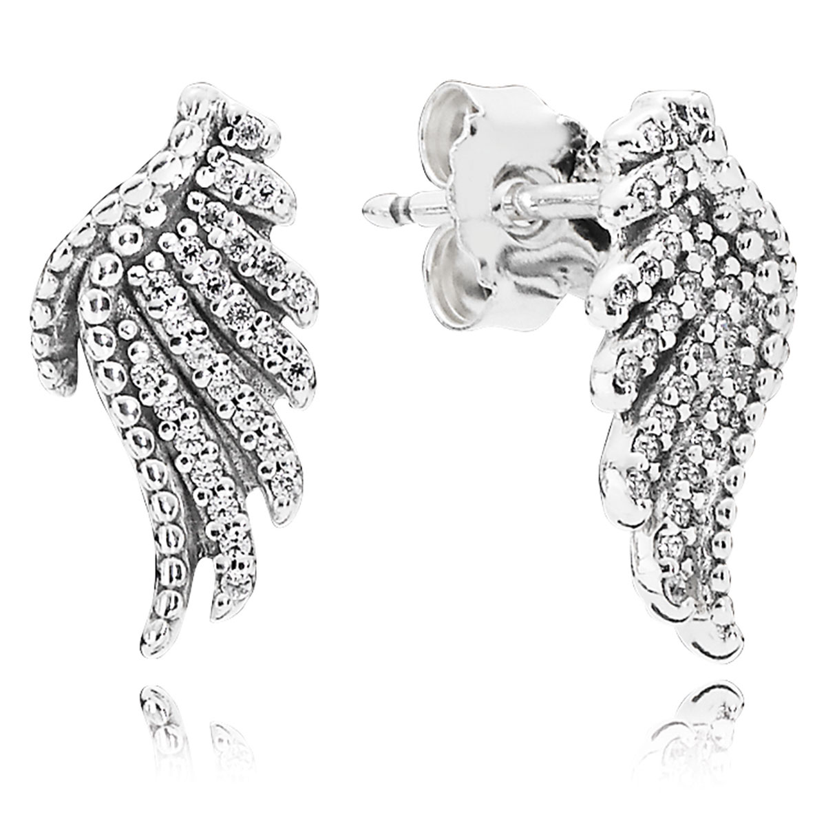 804-417-PANDORA Majestic Feathers with Clear CZ Stud Earrings