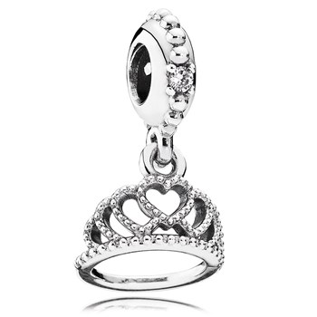 802-3087-PANDORA Hearts Tiara with Clear CZ Dangle