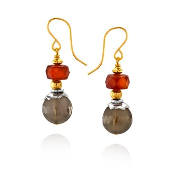 Smoky Quartz and Carnelian Earrings
