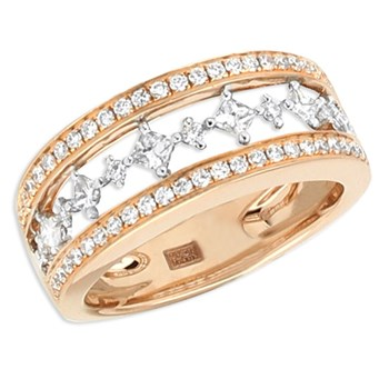 Rose & White Gold Diamond Ring-348318