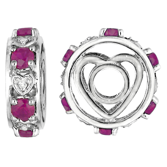 336912-Storywheels Ruby & Diamond Heart Sterling Silver Wheel ONLY 2 AVAILABLE!