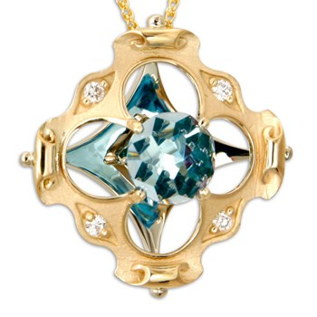334075-Galatea DavinChi Cut Blue Topaz & Diamond Necklace