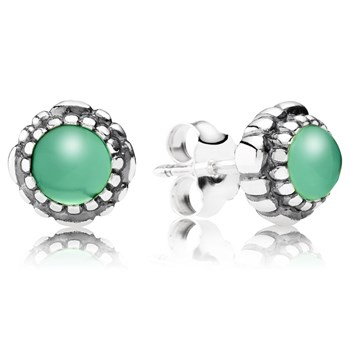 344324-PANDORA Chrysoprase May Birthday Bloom Stud Earrings