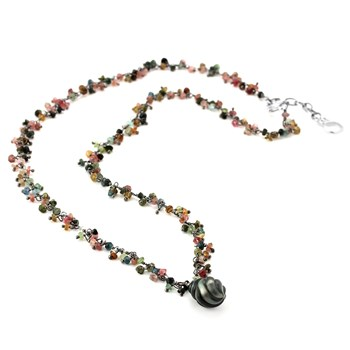 Black Pearl & Tourmaline Necklace-347607