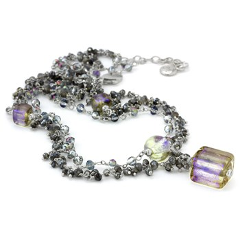 Glass, Quartz & Labordorite Necklace-235-623
