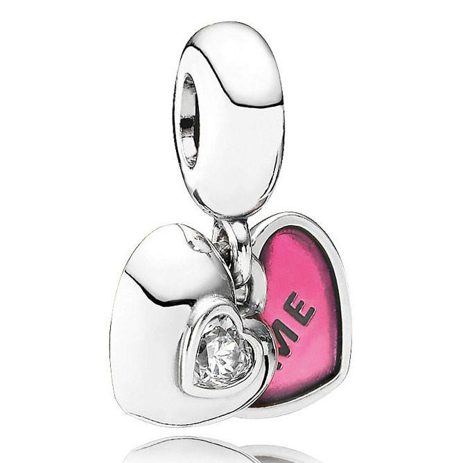 345478-PANDORA You & Me with Pink Enamel and Clear CZ Dangle