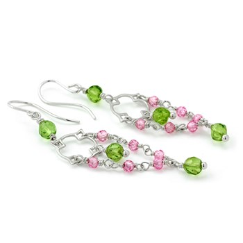 Pink Zircon & Peridot Earrings-210-659