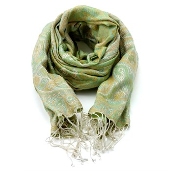 Green & Yellow Patterned Silk Shawl-730-91