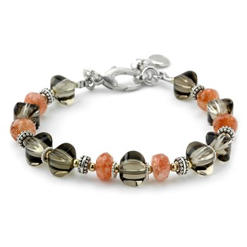 Smokey Quartz & Sunstone Bracelet-240-3313