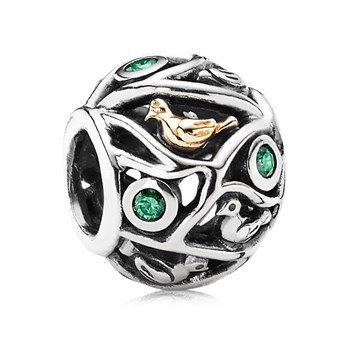 PANDORA Birds of a Feather with 14K and Dark Green CZ Charm RETIRED