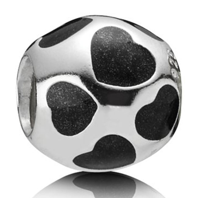 336104-PANDORA Love You with Black Enamel Charm RETIRED