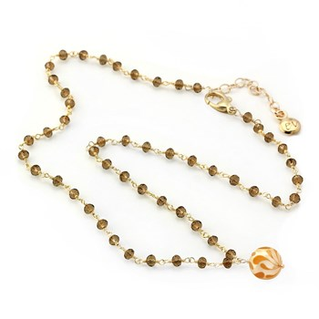 Golden Pearl & Smokey Quartz Necklace-348941