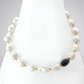 Pearl & Black Diamonds Pavé Necklace-343109