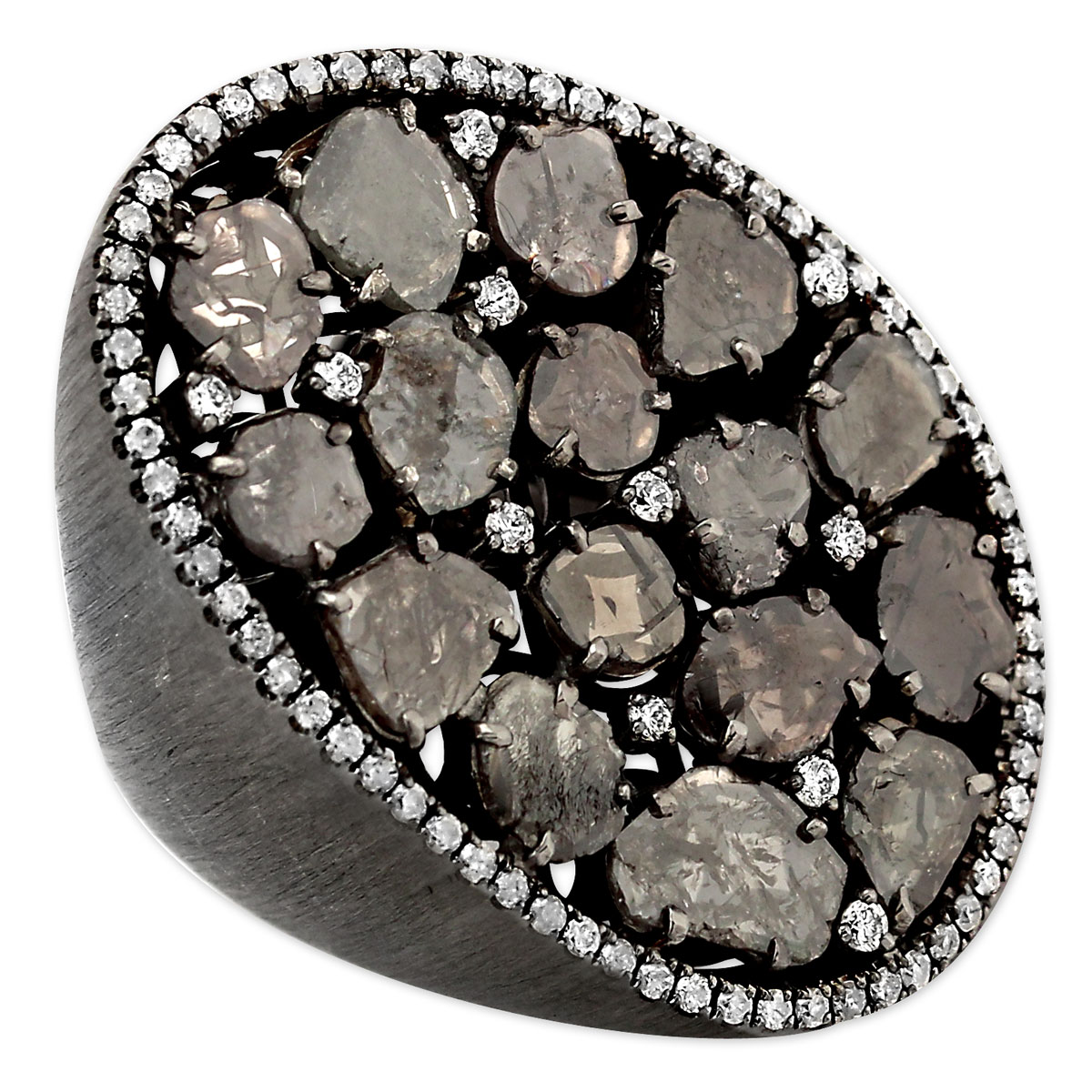 342293-Black Raw Diamond Cluster Ring