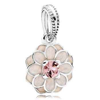 PANDORA Blooming Dahlia with Cream Enamel and Blush Pink Crystal Dangle