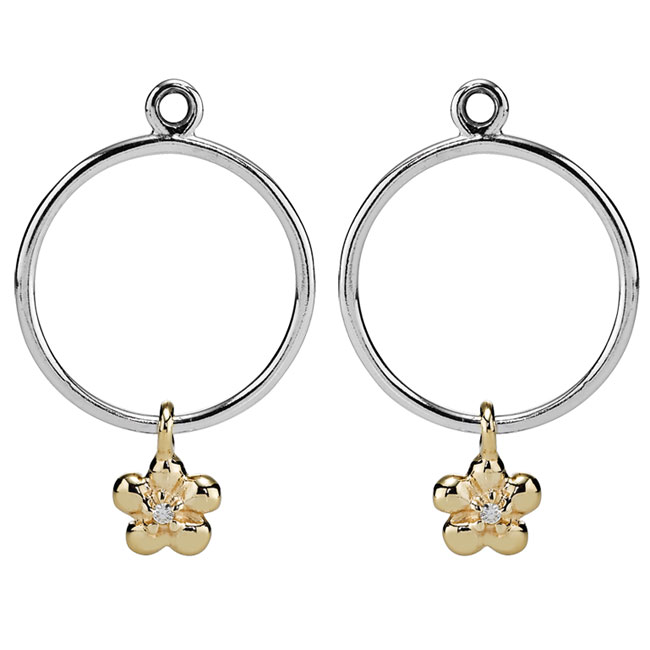 333090-PANDORA Single Daisy Hoop with 14K and Diamond Compose Earring Charms RETIRED ONLY 5 PAIRS LEFT!