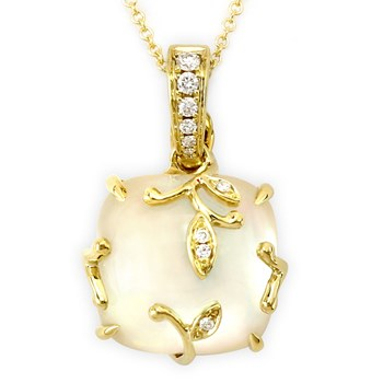 White Topaz Over Mother of Pearl Pendant-342010