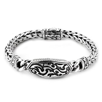 Oxidized Silver Filigree Bracelet-342803
