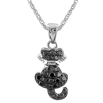 341574-Black Diamond Cat Pendant
