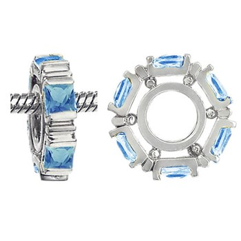 Storywheels Swiss Blue Topaz Small Princess Cut 14K White Gold Wheel RETIRED ONLY 5 LEFT!-265690