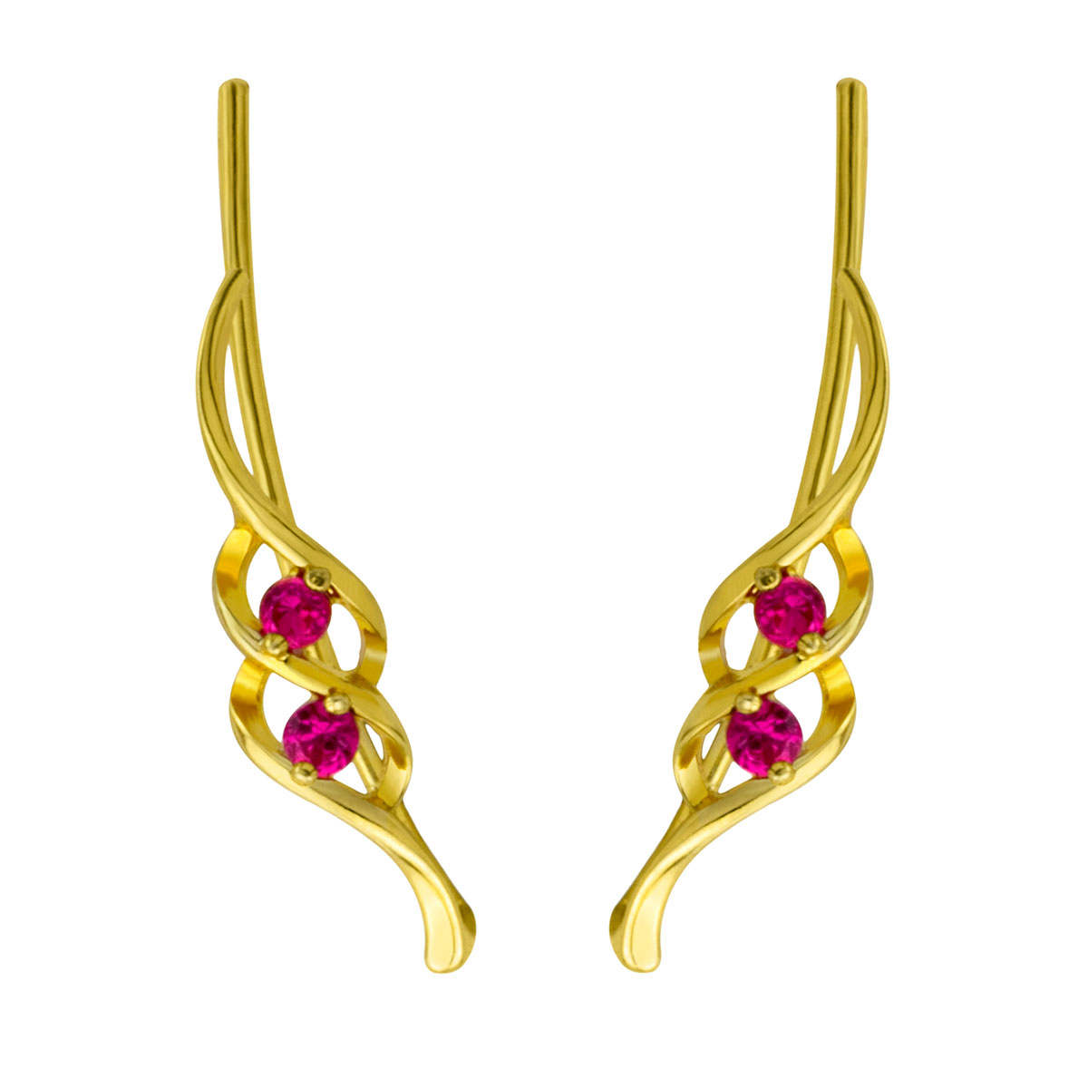 Ruby Gold Ear Climber