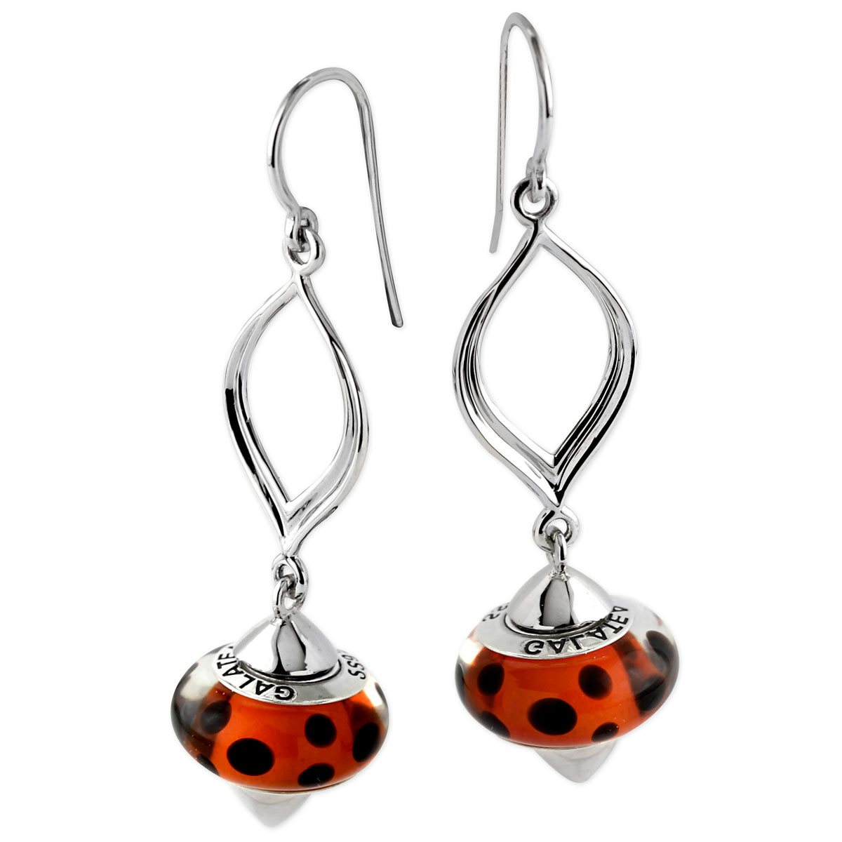 342111-Galatea Interchangeable Oval Earrings with Red & Black Beads