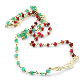 Abstract Ruby & Emerald Necklace-235-596