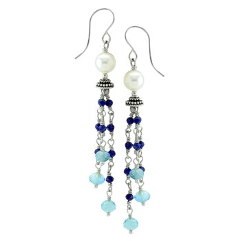 Blue Topaz & Lapis Earrings-210-837