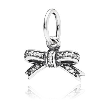 PANDORA Sparkling Bow with Clear CZ Pendant-347052